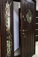 Входные двери с ковкой и стеклопакетом.